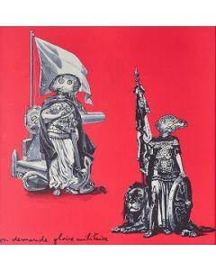 Enrico Baj, Gloire militaire, litografia a colori e collage 38x38 cm, 1972