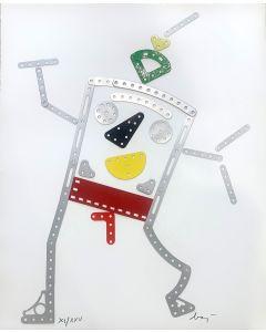 Enrico Baj, Mic-Mac, danseus mecanique, collage su carta, 2000-2001