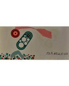 Enrico Baj, Miraculeux, litografia a colori e collage 38x75 cm, 1972