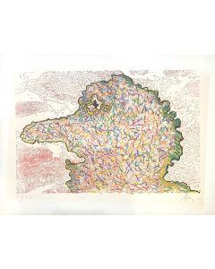 Enrico Baj, Profilo, litografia a colori, 60x80cm, 1971