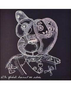 Enrico Baj, Testa di generale, litografia a colori e collage 38x38 cm, 1972