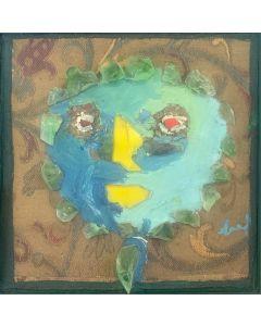 Enrico Baj, Testa, collage e dipinto su tela incollata su tavola, 20x19,5 cm, 1956