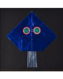 Enrico Baj, Senza titolo, collage, 38x38 cm, 1972