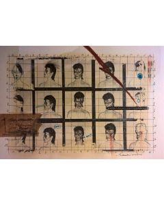 Enrico Pambianchi, David Bowie, disegno e collage su carta, 25x36 cm, 2016