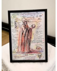 Giancarlo Prandelli, Omaggio a Michelangelo l'Eremita, inchiostro e matita colorata su carta, 29,5x 20,5cm (D121)