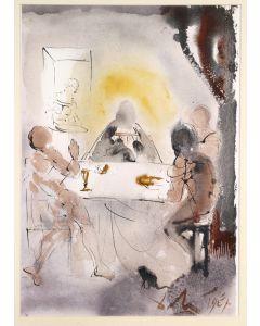 Salvador Dalì, Et cognoverunt eum in fractione panis, litografia, 50x39 cm, tratta da La Sacra Bibbia, 1967