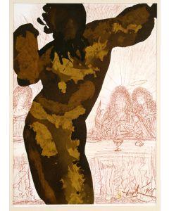 Salvador Dalì, Et post buccellam introivit in eum satanas, litografia, 50x39 cm, tratta da La Sacra Bibbia, 1967