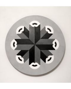 Fè, Kiss 360 grayscale, acrilico su tela, 80 cm, 2020