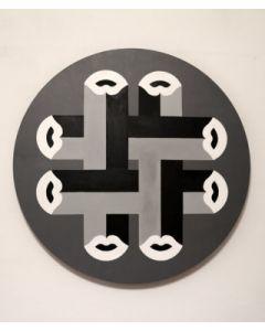 Fè, Kiss Knit greyscale, acrilico su tela, 80 cm, 2020