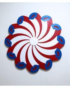Fè, Kiss Vortex, intarsio di tasselli dipinti a mano, 88 cm, 2020