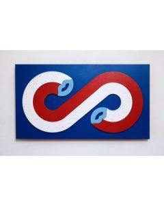 Fè, Lovers (Blu), intarsio di tasselli dipinti a mano, 39x21,5cm, 2020