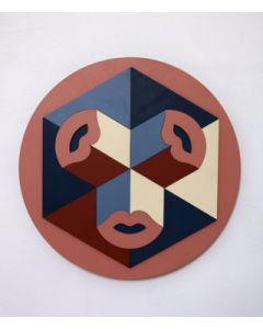 Fè, Threesome, intarsio di tasselli dipinti a mano, 40 cm, 2020