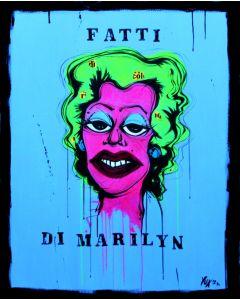 Yux, Fatti di Marilyn, acrilico, pastelli a cera, smalto e manifesti su tela, 80x100 cm