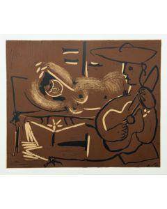 Pablo Picasso, Femme couchée et guitariste, Linoleografia, 27x32,5 cm
