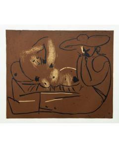 Pablo Picasso, Femme couchée et homme au grand chapeau, Linoleografia, 27x32,5 cm