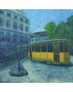 Andrea Ferrari Bordogna, Fermata in piazza, olio su carta intelata, 32x32 cm