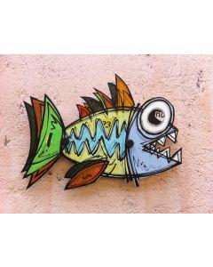 Yux, Piranha, tecnica mista su alluminio, 51 cm