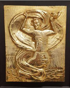 Salvatore Fiume, Odalisca, bassorilievo polimaterico, 30x40 cm