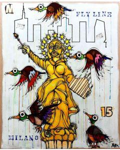 Yux, Flyline Milano 15, acrilico, smalto e manifesti su tela, 114x140 cm