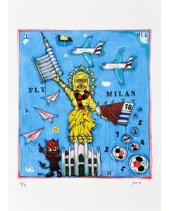 Yux, Fly Milan, retouchè, 46x32 cm