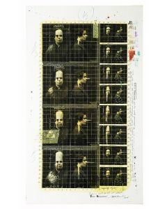Enrico Pambianchi, Folle sequenza, collage, olio, acrilico, matite, gessetti, resine su tavola, 42x73 cm
