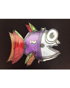 Yux, Fish, tecnica mista su alluminio, 35,5 cm