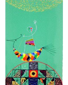 Meloniski da Villacidro, Noè, serigrafia e collage ritoccata a mano, 70x100 cm