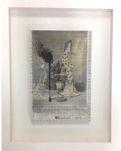 Enrico Pambianchi, WC Janapese, collage, acrilico, olio, matite e resine su tavola (con cornice), 30x20 cm (49x39 cm con cornice)