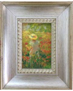 Daniela Penco, Ragazza nel giardino di papaveri, olio su cartone telato, 10x15 cm (23,5x28,5cm con cornice)