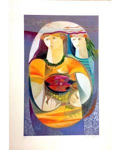 Vittorio Maria Di Carlo, serigrafia su carta, Donne con cesto di pesci, 50x35 cm