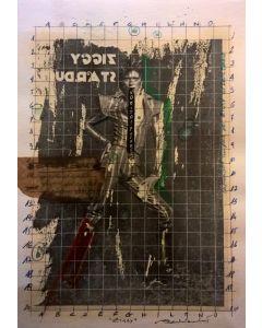 Enrico Pambianchi, Ziggy, disegno e collage su carta, 25x36 cm, 2016