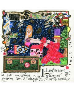 Francesco Musante, Il nostro cuore, la notte, una valigia, serigrafia materica, 20x20 cm