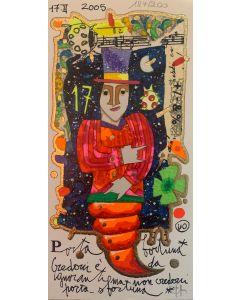 Francesco Musante, Porta Fortuna, serigrafia materica, 10x20 cm