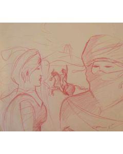 Carlo Massimo Franchi, L'amante di Salazar, disegno su carta, 35x40 cm