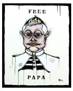Yux, Free Papa, acrilico pastelli a cera, smalto e manifesti su tela, 80x100 cm