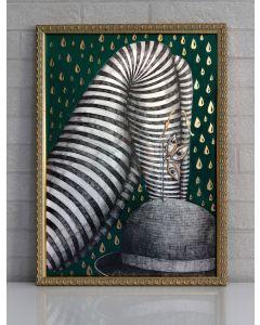 Aria Carelli, Pioggia, inchiostro e acquarello su carta, 31x46 cm (con cornice)