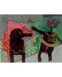 Enrico Baj, Generale Ubu nell'intimità, serigrafia a colori e collage, 83x66 cm, 1979