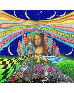 Meloniski da Villacidro, Mona Lisa, tecnica mista polimaterica su carta con cornice in plexi, 39x39 cm (50x50x7 cm con teca)