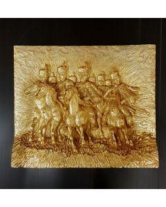 Giovan Francesco Gonzaga La carica dei butteri, bassorilievo, 32x27 cm