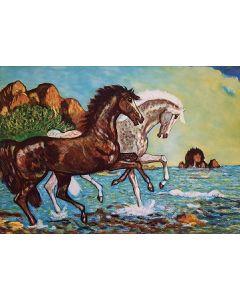 Giovan Francesco Gonzaga, Corsieri fra le acque, acquaforte a colori, 60x80 cm