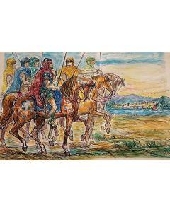 Giovan Francesco Gonzaga, Esploratori di Kanan, litografia ritoccata a mano, 49x35 cm