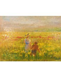 Daniela Penco, Verso l'orizzonte, olio su cartone telato, 18x13 cm
