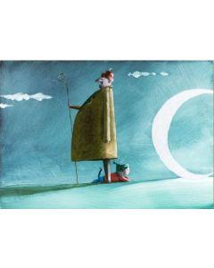 Diego Santini, Il guardiano della luna, Giclée art print ritoccata a mano, 33,5x45 cm