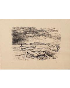 Renato Guttuso, Veduta di Palermo, acquaforte, 50x70 cm