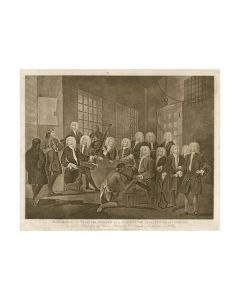 William Hogarth, Bambridge on Trial for Murder by a Committee of the House of Commons, acquaforte, 48x59cm