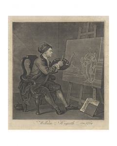 William Hogarth, Hogarth painting the Comic Muse, acquaforte, 40x35 cm