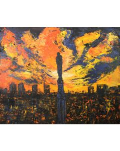 Pier Luca Bencini, Il cielo sopra Milano, acrilico su tavola, 80x100 cm