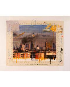 Enrico Pambianchi, Il cielo sopra Milano, tecnica mista su tavola, 40x50 cm