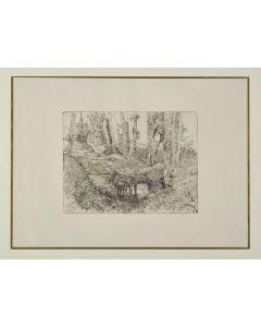 Giovanni Fattori, Il fosso, acquaforte su zinco, 21x27 cm, tiratura del Centenario, 1925