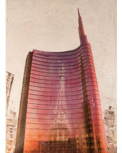 Pier Luca Bencini, Il futuro dal cuore antico, acrilico su tela, 100x70 cm